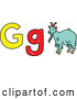 Vector Clipart of a Childs Sketch of G Is for Goat, on White by Prawny