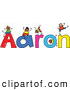 Vector Clipart of a Childs Sketch of Happy Boys Playing on the Name Aaron by Prawny