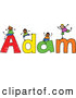 Vector Clipart of a Childs Sketch of Happy Boys Playing on the Name Adam by Prawny