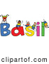 Vector Clipart of a Childs Sketch of Happy Boys Playing on the Name Basil by Prawny