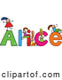 Vector Clipart of a Childs Sketch of Happy Girls Playing on the Name Alice by Prawny