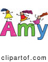 Vector Clipart of a Childs Sketch of Happy Girls Playing on the Name Amy by Prawny
