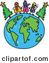 Vector Clipart of a Childs Sketch of Happy Winter Children on a Globe of Earth by Prawny