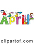 Vector Clipart of a Childs Sketch of Kids Girls Playing on the Name April by Prawny