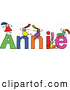 Vector Clipart of a Childs Sketch of Little Girls Playing on the Name Annie by Prawny