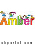 Vector Clipart of a Childs Sketch of Smiling Girls Playing on the Name Amber by Prawny