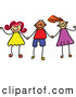 Vector Clipart of a Childs Sketch of Stick Figure Boys and Girls Holding Hands by Prawny