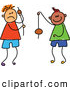Vector Clipart of a Childs Sketch of Stick Figure Boys Playing Conkers by Prawny