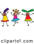 Vector Clipart of a Childs Sketch of Three Girls Playing Together on White by Prawny
