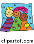 Vector Clipart of a Childs Sketch of Three Smiling Kids by Prawny