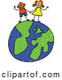 Vector Clipart of a Childs Sketch of Two Cheerful Children Holding Hands on a Globe by Prawny