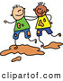 Vector Clipart of a Childs Sketch of Two Smiling Boys Playing in Mud by Prawny