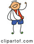 Vector Clipart of a Cute Childs Sketch of Strong Boy with His Arm in a Sling by Prawny