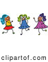 Vector Clipart of a Cute Childs Sketch of Three Girls Playing Together by Prawny