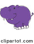 Vector Clipart of a Cute Doodled Purple Hippopotamus by Yayayoyo