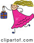 Vector Clipart of a Cute Girl Carrying a Gift Box by Prawny