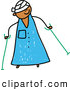 Vector Clipart of a Cute Kid in a Hospital Gown, Head Bandage, Using Crutches by Prawny