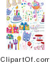 Vector Clipart of a Digital Collage of Birthday Party Doodle Items on White by BNP Design Studio