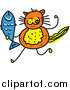 Vector Clipart of a Doodle of an Orange Cat Holding a Fish by Prawny