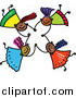 Vector Clipart of a Doodle of Four Happy Black Girls Holding Hands While Falling by Prawny