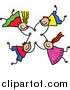 Vector Clipart of a Doodle of Four Kids Holding Hands While Falling by Prawny