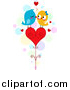 Vector Clipart of a Doodle of Love Birds Kissing on a Heart by BNP Design Studio