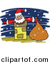 Vector Clipart of a Doodle of Santa in a Chimney by Prawny