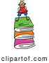 Vector Clipart of a Doodle Stick Boy on a Stack of Books by Prawny
