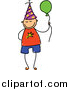 Vector Clipart of a Doodled Birthday Boy with a Balloon by Prawny