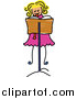 Vector Clipart of a Doodled Blond Girl Playing a Recorder by Prawny