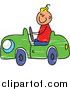 Vector Clipart of a Doodled Blond White Boy Driving a Toy Car by Prawny