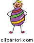 Vector Clipart of a Doodled Blond White Boy Holding a Huge Easter Egg by Prawny