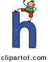Vector Clipart of a Doodled Blond White Boy on a Lowercase Letter H by Prawny