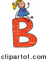 Vector Clipart of a Doodled Blond White Girl on a Capital Letter B by Prawny