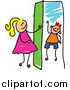 Vector Clipart of a Doodled Blond White Girl Opening a Door to a Boy by Prawny