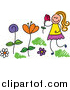 Vector Clipart of a Doodled Blond White Girl Picking and Smelling Flowers in a Garden by Prawny