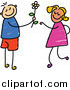 Vector Clipart of a Doodled Boy Giving a Daisy to a Girl by Prawny