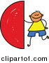 Vector Clipart of a Doodled Boy with a Semi Circle by Prawny