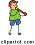 Vector Clipart of a Doodled Brunette White Boy Playing a Recorder by Prawny