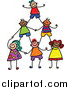 Vector Clipart of a Doodled Childs Sketch of Human Pyramid of Kids by Prawny