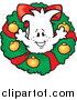 Vector Clipart of a Doodled Christmas Squiggle Guy in a Wreath by Toons4Biz