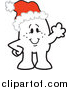 Vector Clipart of a Doodled Christmas Squiggle Guy Waving and Wearing a Santa Hat by Toons4Biz