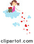Vector Clipart of a Doodled Girl on a Cloud, Dropping Hearts by BNP Design Studio