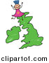 Vector Clipart of a Doodled Girl on a Uk Map by Prawny