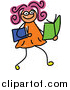 Vector Clipart of a Doodled Girl Reading Books by Prawny