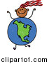 Vector Clipart of a Doodled Girl with a North American Globe Body by Prawny