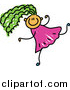 Vector Clipart of a Doodled Girl with Green Hair, Running by Prawny