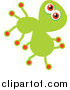 Vector Clipart of a Doodled Green Germ by Prawny