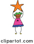 Vector Clipart of a Doodled Green Haired Girl Holding an Orange Star by Prawny