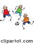 Vector Clipart of a Doodled Group of Boys Playing Soccer by Prawny